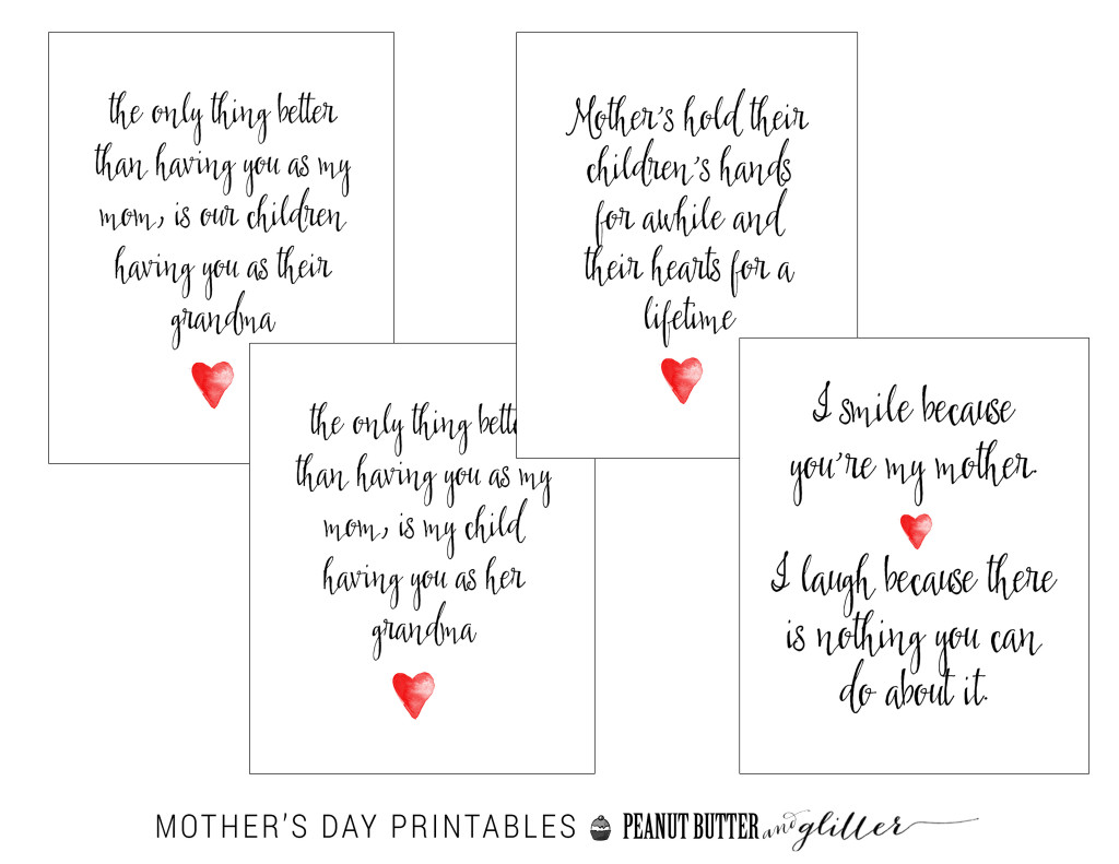 Mother's Day Printable Set Button